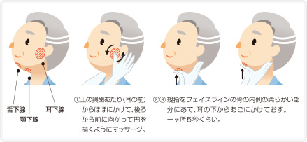 唾液腺マッサージの手順