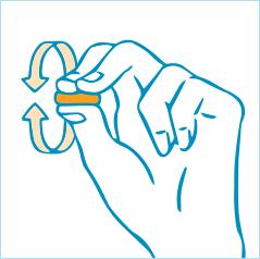 耳栓を指で小さくするイラスト