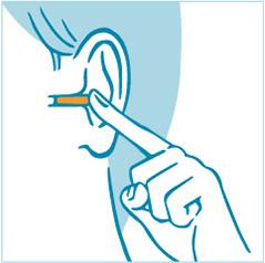 耳栓を耳に差し込むイラスト